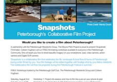 Free filmmaking workshops fo rthe month of August in Peterborough as part of the Moyne Pitch Project Snapshots project.